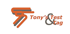 Tony's Test & Tag full logo for their website in grey and orange for the website in Victoria